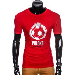 T-shirty męskie: T-SHIRT MĘSKI Z NADRUKIEM S965 – CZERWONY