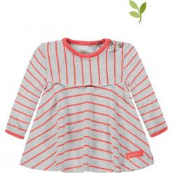 Koszulka w kolorze biało-jasnoróżowym. Białe bluzki dziewczęce bawełniane bellybutton, w paski, z okrągłym kołnierzem. W wyprzedaży za 49,95 zł.