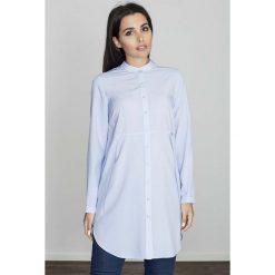 Bluzki, topy, tuniki: Niebieska Koszula -Tunika Zapinana Na Zatrzaski