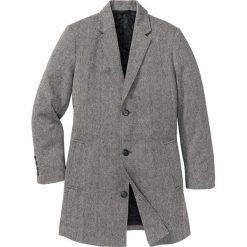 Płaszcz z materiału w optyce wełny Regular Fit bonprix czarno-biały melanż. Szare płaszcze na zamek męskie bonprix, m, melanż, z wełny. Za 239,99 zł.