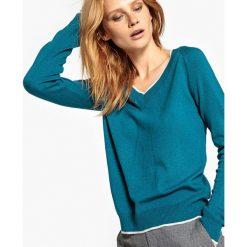 Swetry damskie: Sweter z kontrastowym obszyciem, wełniany
