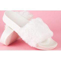 Chodaki damskie: Białe klapki z futerkiem CHRISTIAN białe