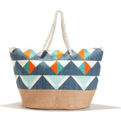 Torba na zakupy z graficznym motywem. Szare torebki klasyczne damskie marki La Redoute Collections, w kolorowe wzory, z materiału. Za 102,86 zł.