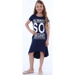 Sukienka dziewczęca z napisami granatowa NDZ8247. Szare sukienki dziewczęce marki Fasardi. Za 59,00 zł.