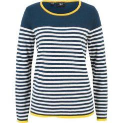 Swetry klasyczne damskie: Sweter w paski bonprix ciemnoniebiesko-biały w paski
