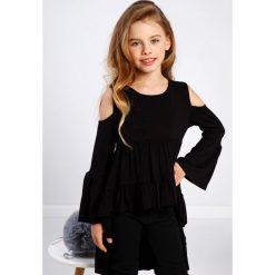 T-shirty dziewczęce: Czarna bluzka dziewczęca z falbanami DZ8468