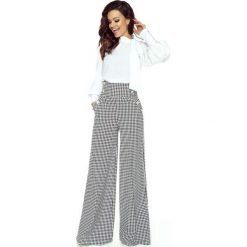 Spodnie z wysokim stanem: Pepitka Spodnie z Szerokimi Nogawkami z Wysokim Stanem