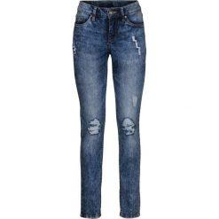 Dżinsy SKINNY bonprix ciemnoniebieski. Niebieskie jeansy damskie skinny marki bonprix, z jeansu. Za 109,99 zł.
