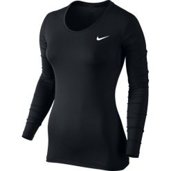 Topy sportowe damskie: Nike Koszulka damska Pro Long Sleeve Top czarna r. L (725740-010)