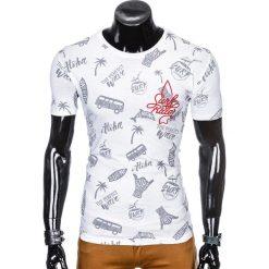 T-shirty męskie: T-SHIRT MĘSKI Z NADRUKIEM S974 - BIAŁY