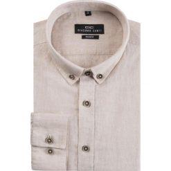 Koszula lniana SIMONE KLES000003. Brązowe koszule męskie na spinki marki FORCLAZ, m, z materiału, z długim rękawem. Za 169,00 zł.