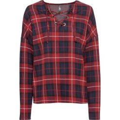 Bluza dresowa bonprix czerwono-niebieski w kratę. Czerwone bluzy damskie bonprix, z dresówki. Za 89,99 zł.