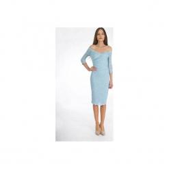 Sukienka kopertowa z koronki błękit. Niebieskie sukienki koronkowe Sylwia snoch, xl, w koronkowe wzory, z kopertowym dekoltem, kopertowe. Za 300,00 zł.