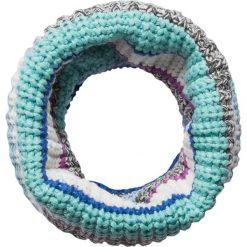 Szaliki damskie: Szal-koło w kolorze turkusowo-biało-szarym – 60 x 32 cm