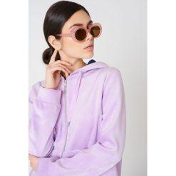 Okulary przeciwsłoneczne damskie aviatory: NA-KD Accessories Owalne okulary przeciwsłoneczne - Pink