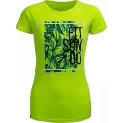 T-shirt damski TSD629 - żółty neon - Outhorn. Żółte t-shirty damskie Outhorn, z nadrukiem, z bawełny. W wyprzedaży za 24,99 zł.