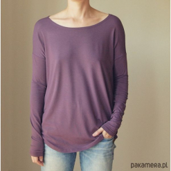 Wąski rękaw Wrzosowy Bluzka. Fioletowe bluzki asymetryczne Pakamera, z długim rękawem. Za 115,00 zł.