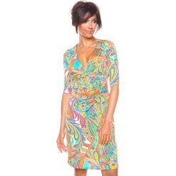 """Sukienki hiszpanki: Sukienka """"Valence"""" w kolorze pomarańczowym ze wzorem"""