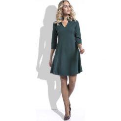 Zielona Sukienka Wizytowa Lekko Rozszerzana z Rękawem 3/4. Zielone sukienki marki Molly.pl, l, z tkaniny, wizytowe, dekolt w kształcie v, dopasowane. Za 129,90 zł.
