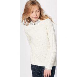 Sweter w warkocze 10-16 lat. Szare swetry chłopięce La Redoute Collections, z dzianiny, z okrągłym kołnierzem. Za 75,60 zł.