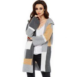 Unikalny sweter kardigan multikolor ls204. Niebieskie kardigany damskie marki SaF, na co dzień, xl, z żakardem, z asymetrycznym kołnierzem, dopasowane. W wyprzedaży za 119,00 zł.