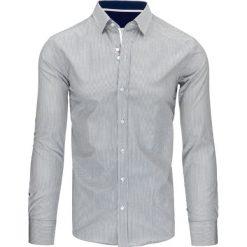 Koszule męskie na spinki: Biało-szara koszula męska w paski (dx1496)