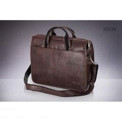 Torba Solier Brązowa męska torba na ramie, laptopa SOLIER LUCAS. Brązowe torby na laptopa marki Solier. Za 132,38 zł.