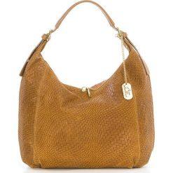 Torebki klasyczne damskie: Skórzana torebka w kolorze jasnobrązowym – 38 x 34 x 15 cm