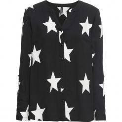 Bluzka bonprix czarno-biały. Czarne bluzki asymetryczne bonprix, z nadrukiem, z okrągłym kołnierzem. Za 89,99 zł.