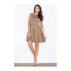 Sukienka Zoe M235 beżowa. Brązowe sukienki hiszpanki FIGL, m. Za 139,00 zł.