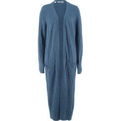 Długi płaszcz dzianinowy, długi rękaw bonprix indygo. Niebieskie płaszcze damskie bonprix, z dzianiny. Za 119,99 zł.