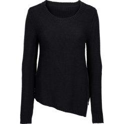 Swetry klasyczne damskie: Sweter dzianinowy z zamkiem bonprix czarny