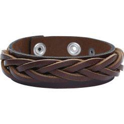 Bransoletki damskie: Braided Strap Bracelet Brown Bransoletka skórzana standard