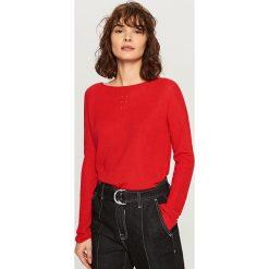 Kardigany damskie: Sweter z lekkiej dzianiny – Czerwony