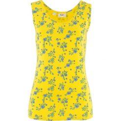 Bluzki, topy, tuniki: Top w kwiaty bonprix żółty cytrynowy z nadrukiem