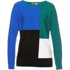 Swetry klasyczne damskie: Sweter bonprix lazurowo-szmaragdowy