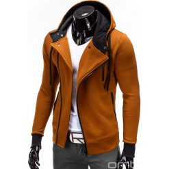 BLUZA MĘSKA ROZPINANA Z KAPTUREM B297 - RUDA. Brązowe bluzy asymetryczne męskie marki Ombre Clothing, m, z bawełny, z kapturem. Za 89,00 zł.