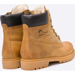 Panama Jack - Botki. Brązowe buty zimowe damskie Panama Jack, z wełny, z okrągłym noskiem, na obcasie, na sznurówki. W wyprzedaży za 399,90 zł.