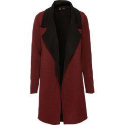 Płaszcze damskie pastelowe: Płaszcz dzianinowy bonprix czerwony kasztanowy - czarny