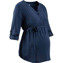 Bluzka ciążowa z długą plisą guzikową bonprix ciemnoniebieski. Niebieskie bluzki ciążowe marki bonprix, z materiału, z dekoltem w serek. Za 89,99 zł.