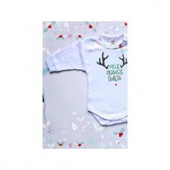 Moje Pierwsze Święta - Body dla Niemowlaka - prezent świąteczny dla noworodka - prezent świąteczny dla niemowlaka. Białe body niemowlęce Mimi monster alicja Łaciak, z nadrukiem, z bawełny. Za 49,00 zł.