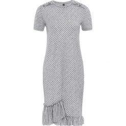 Sukienka shirtowa bonprix szaro-biały w paski. Białe sukienki z falbanami bonprix, w paski. Za 79,99 zł.