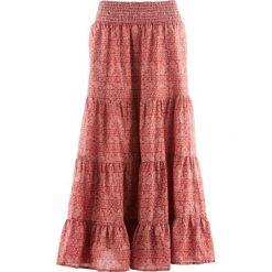 Długa spódnica, kolekcja Maite Kelly bonprix brązowy marsala - biały z nadrukiem. Czerwone długie spódnice bonprix, z nadrukiem. Za 109,99 zł.