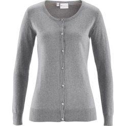 Swetry rozpinane damskie: Sweter rozpinany z domieszką jedwabiu bonprix jasnoszary melanż