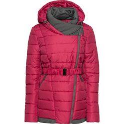 Zimowy krótki płaszcz bonprix czerwień granatu. Czerwone płaszcze damskie pastelowe bonprix, na zimę, w paski. Za 239,99 zł.
