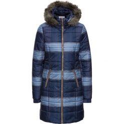 Krótki płaszcz pikowany z nadrukiem bonprix ciemnoniebieski w kratę. Niebieskie płaszcze damskie pastelowe bonprix, z nadrukiem. Za 99,99 zł.