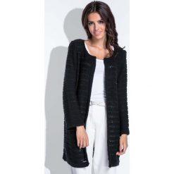 Swetry damskie: Czarny Elegancki Ażurowy Kardigan bez Zapięcia