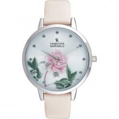 """Zegarek kwarcowy """"Floral"""" w kolorze jasnoróżowo-srebrno-kremowym. Białe, analogowe zegarki damskie Stylowe zegarki. W wyprzedaży za 127,95 zł."""
