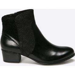 Jana - Botki. Czarne buty zimowe damskie Jana, z materiału, z okrągłym noskiem. W wyprzedaży za 179,90 zł.