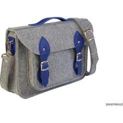 Torba na laptopa z granatową skórą. Szare torby na ramię męskie Pakamera, ze skóry. Za 113,00 zł.